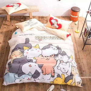 Kawaii Neko Friends Bedding Sheets Set SP179226
