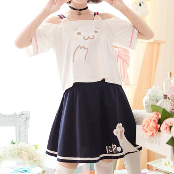 Kawaii Neko Off-Shoulder T-Shirt/Skirt SP179436