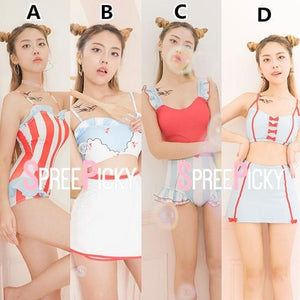Kawaii Pastel Striped Seifuku Swimsuit SP179929
