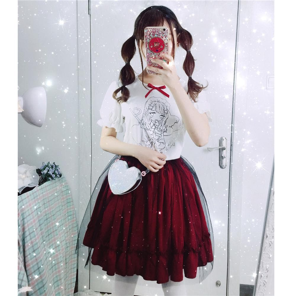 Kawaii Printing T-Shirt/Gauze Skirt SP1710172