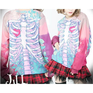 Kawaii Punk 3D Skeleton Skull T-Shirt SP179934