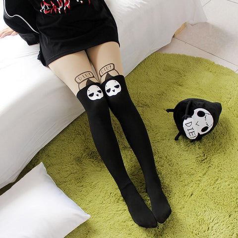 Kawaii Reaper Printing Over Knee Tights SP178752
