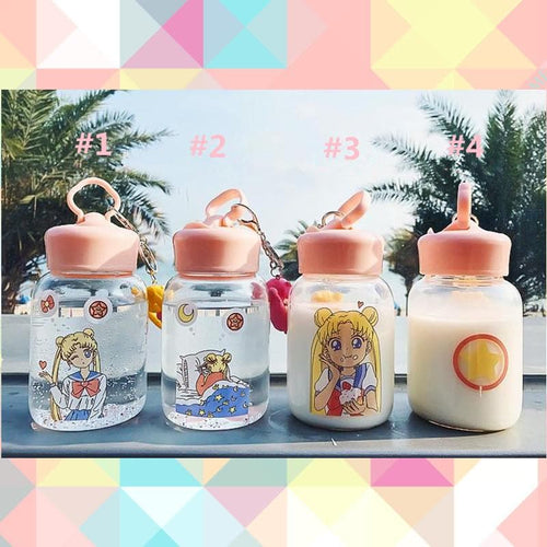 Free Shipping Kawaii Sailor Moon Glass Bottle SP1812142