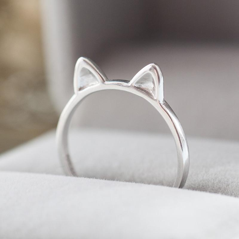 Kawaii Silver Kitty Ear Adjustable Ring SP165202