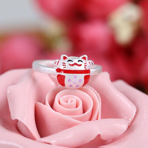 Kawaii Silver Lucky Neko Cat Ring SP178864