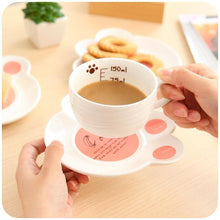 Load image into Gallery viewer, Kawaii Cat Ceramic Teacup With Cat Paw Dish Set SP167639