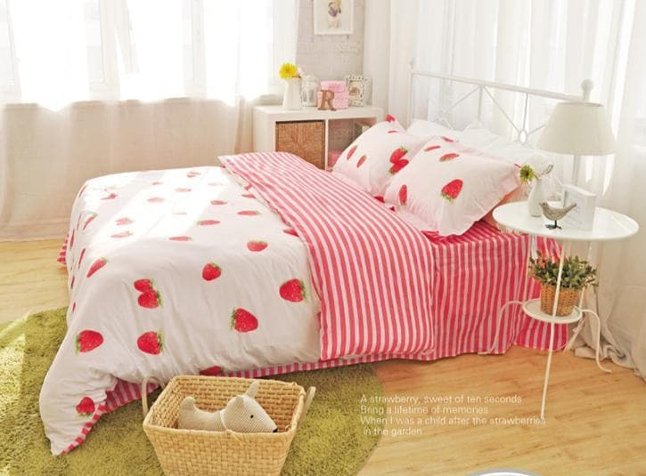 c4eb02b5f7 Load image into Gallery viewer, Kawaii Strawberry Bedding Set SP166365 ...