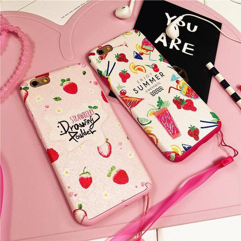 Kawaii Strawberry Pattern Phone Case SP165688
