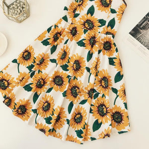 Kawaii Sunflower High Waist Dress SP1812368
