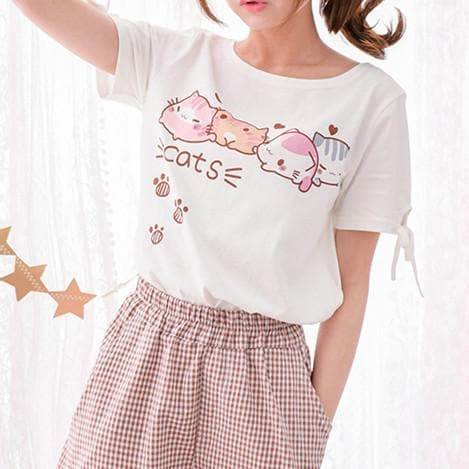 Kawaii White Chubby Kitty T-shirt SP179879