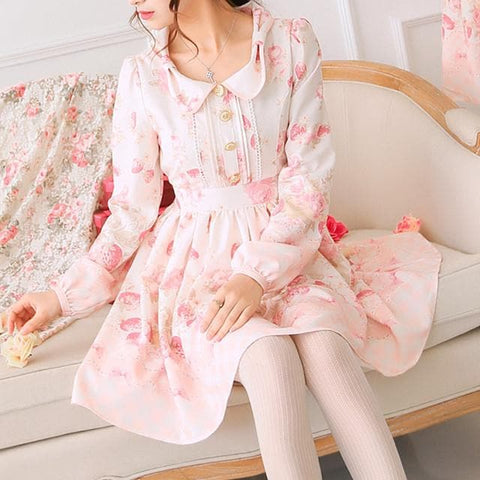 Kawawii Strawberry Floral Long Sleeve Dress SP165811