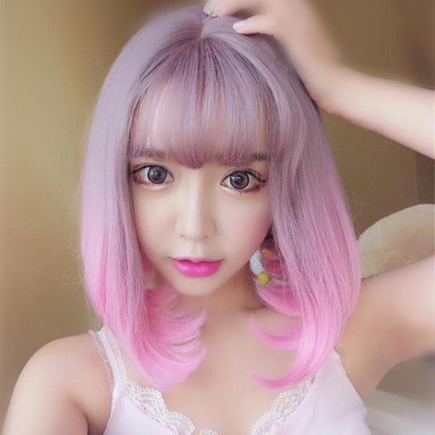 Pastel Pink Gradient Air Bang Wig SP168586