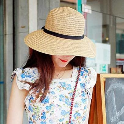 Khaki/Beige Foldable Straw Hat Beach Hat SP152035 - SpreePicky  - 2