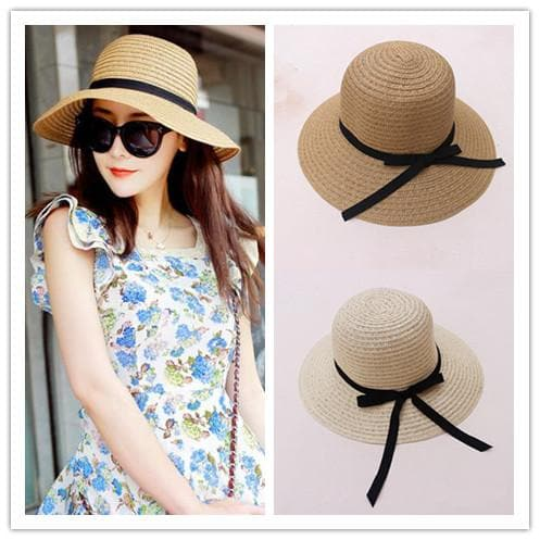 Khaki/Beige Foldable Straw Hat Beach Hat SP152035 - SpreePicky  - 1