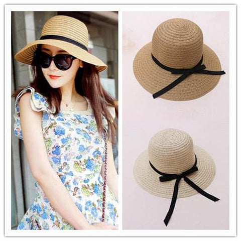Khaki/Beige Foldable Straw Hat Beach Hat SP152035