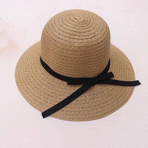 Khaki/Beige Foldable Straw Hat Beach Hat SP152035 - SpreePicky  - 6