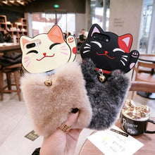 Load image into Gallery viewer, Khaki/Black Fluffy Lucky Kitty Phone Case SP1711434