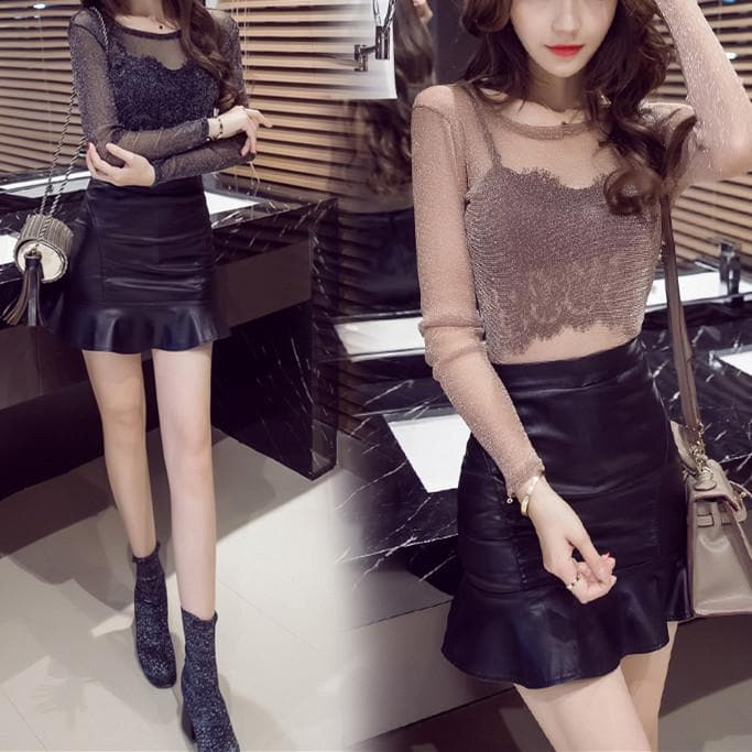 Khaki/Grey/Black Sweet Tulle Club Top/PU Skirt SP1811875