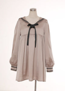 Khaki/Navy J-fashion Navy Sailor Collar Knotbow Dress SP140582 - SpreePicky  - 3