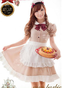Khaki Coffee Cafe Maid Dress SP141205 - SpreePicky  - 4