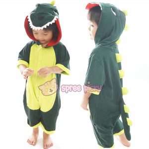 Kids Green Godzilla Dinosaur Animal Summer Onesies Kigurumi Jumpersuit Nightwear Pajamas SP152060 - SpreePicky  - 1