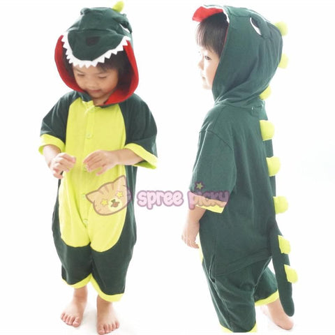 Kids Green Godzilla Dinosaur Animal Summer Onesies Kigurumi Jumpersuit Nightwear Pajamas SP152060