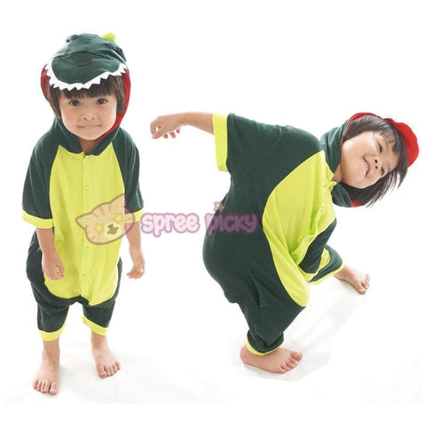 Kids Green Godzilla Dinosaur Animal Summer Onesies Kigurumi Jumpersuit Nightwear Pajamas SP152060 - SpreePicky  - 2