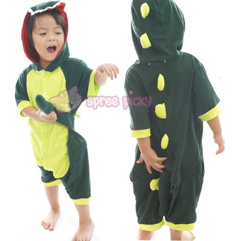 Kids Green Godzilla Dinosaur Animal Summer Onesies Kigurumi Jumpersuit Nightwear Pajamas SP152060 - SpreePicky  - 4