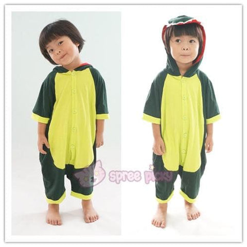 Kids Green Godzilla Dinosaur Animal Summer Onesies Kigurumi Jumpersuit Nightwear Pajamas SP152060 - SpreePicky  - 3