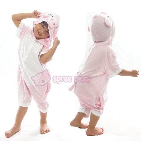 Kids Pink Peppa Pig Animal Summer Onesies Kigurumi Jumpersuit Nightwear Pajamas SP152061 - SpreePicky  - 2