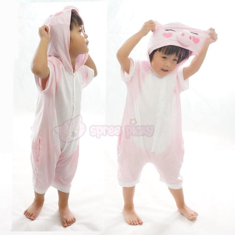Kids Pink Peppa Pig Animal Summer Onesies Kigurumi Jumpersuit Nightwear Pajamas SP152061 - SpreePicky  - 4