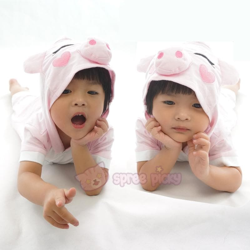 Kids Pink Peppa Pig Animal Summer Onesies Kigurumi Jumpersuit Nightwear Pajamas SP152061 - SpreePicky  - 1