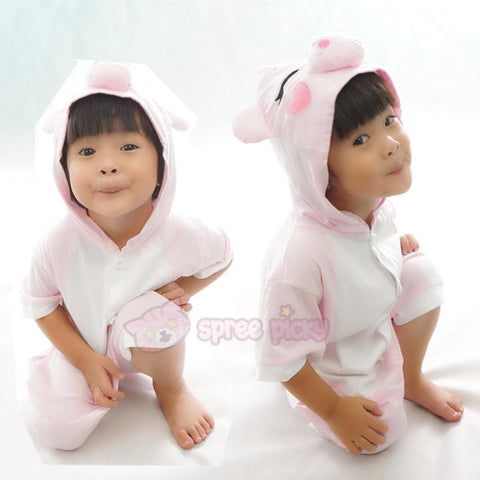 Kids Pink Peppa Pig Animal Summer Onesies Kigurumi Jumpersuit Nightwear Pajamas SP152061 - SpreePicky  - 5