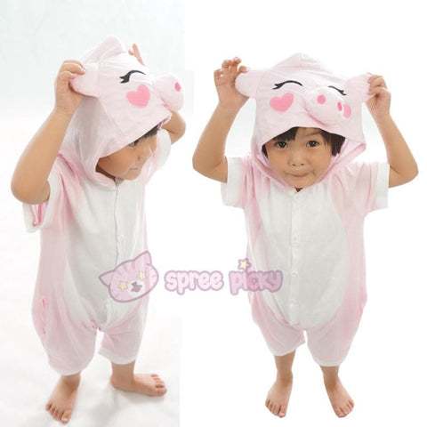 Kids Pink Peppa Pig Animal Summer Onesies Kigurumi Jumpersuit Nightwear Pajamas SP152061 - SpreePicky  - 3