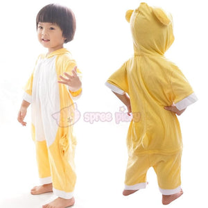 Kids Version Rilakkuma Cute Bear Summer Onesies Kigurumi Jumpersuit Nightwear Pajamas SP152062 - SpreePicky  - 1