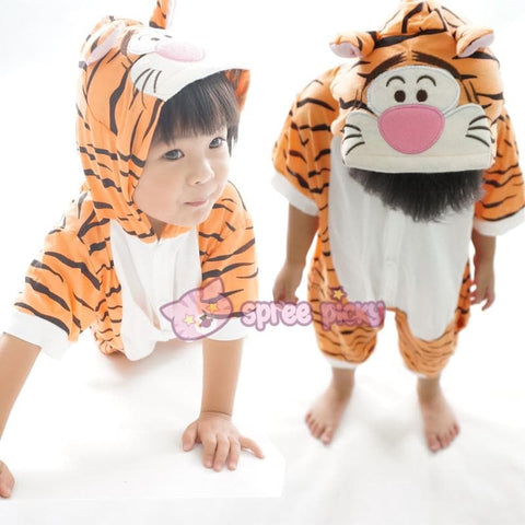 Kids Tiger Animal Summer Onesies Kigurumi Jumpersuit Nightwear Pajamas SP152059