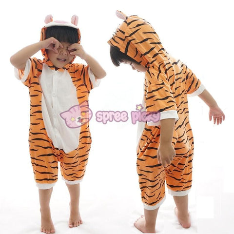 Kids Tiger Animal Summer Onesies Kigurumi Jumpersuit Nightwear Pajamas SP152059 - SpreePicky  - 2