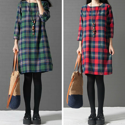 L-3XL Red/Green Loose Retro Grid Long Sleeve Dress SP165611