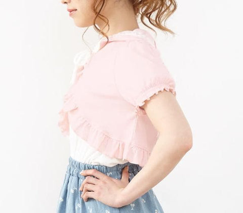 L/XL Pink Kawaii Rabbit Short Sleeve Top SP166820