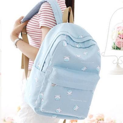 Light Blue/Pink/Navy Pastel Cartoon Backpack SP1710411