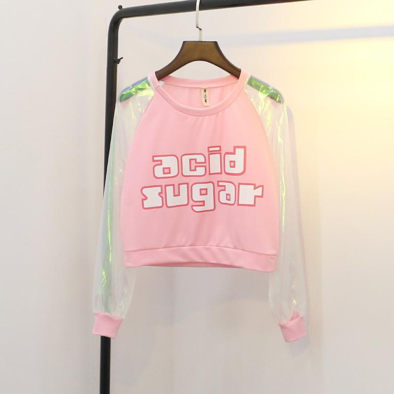 Acid Sugar hologram Sleeve Top SP178913