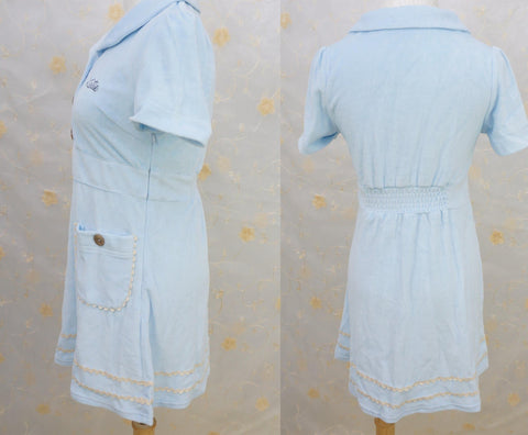 Light Blue Nurse Style Coral Velvet Dress SP140912 - SpreePicky  - 2