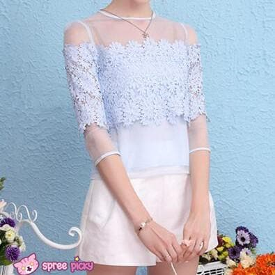 [S/M/L] Light Blue Organza Chiffon Top SP151879 - SpreePicky  - 1