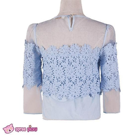[S/M/L] Light Blue Organza Chiffon Top SP151879 - SpreePicky  - 4