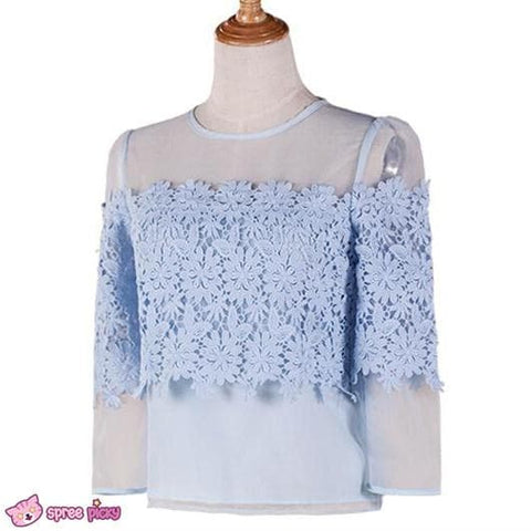 [S/M/L] Light Blue Organza Chiffon Top SP151879 - SpreePicky  - 3