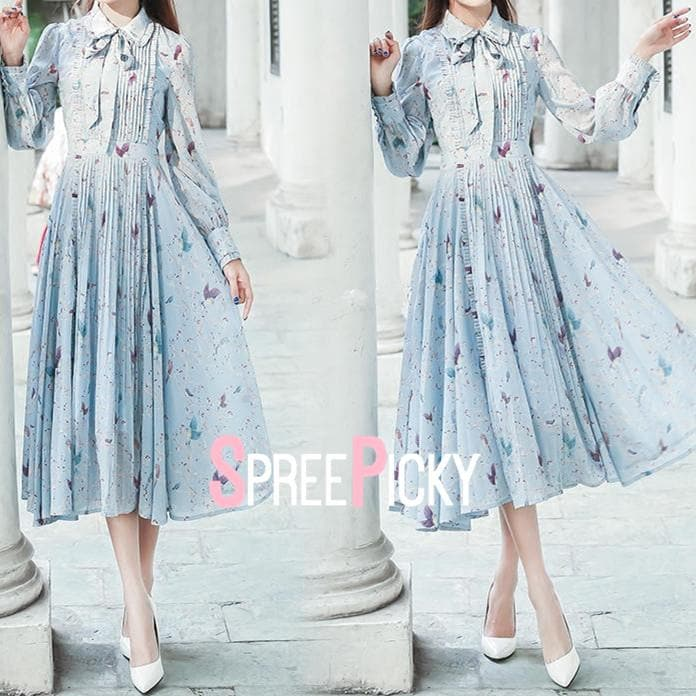 Light Blue Sky Floral Breezy Dress SP179084