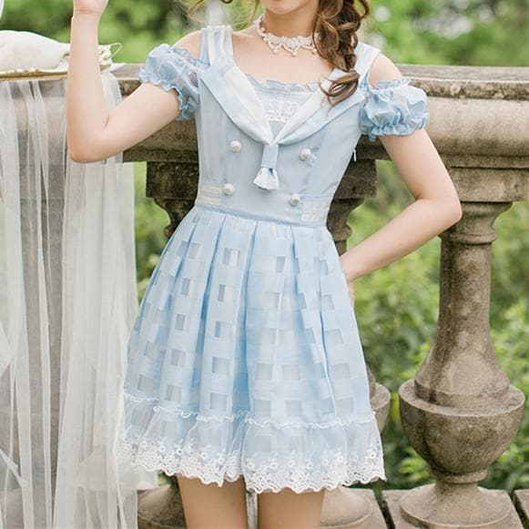 Light Blue Sweet Sailor Suspender Dress SP179636