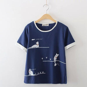 Beige/Navy Casual Lovely Cat Tee Shirt SP1710033