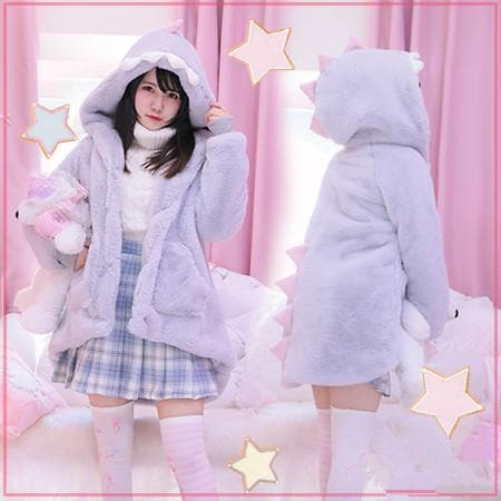 Light Grey Fluffy Dino Hoodie Coat SP178763