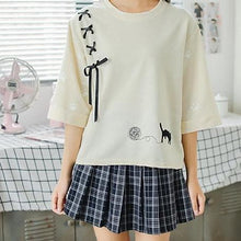 Load image into Gallery viewer, Light Yellow/Light Grey Kawaii Cat Laced Shirt SP1812566